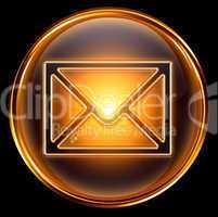 Envelope icon gold, isolated on black background