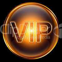 Vip icon gold, isolated on black background