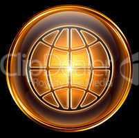 World icon gold, isolated on black background