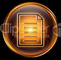 Document icon gold, isolated on black background