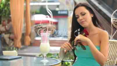 Beautiful young woman in a restaurant