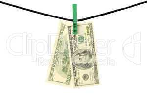 Dollars hanging on a string