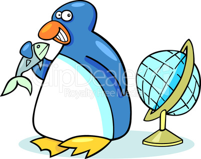 penguin with fish cartoon