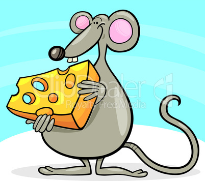 mouse with cheese cartoon