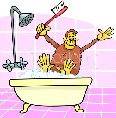 monkey in bath cartoon