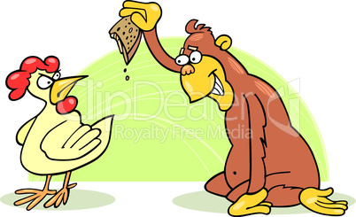 monkey change chicken cartoon