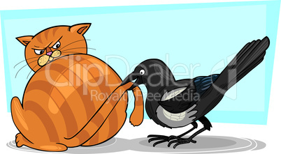 magpie and cat cartoon