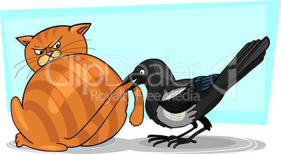 magpie and cat cartoon