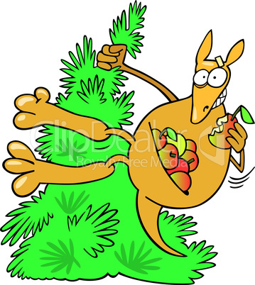 cartoon kangaroo on tree