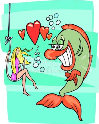 fish in love cartoon