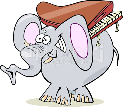 elephant with piano cartoon