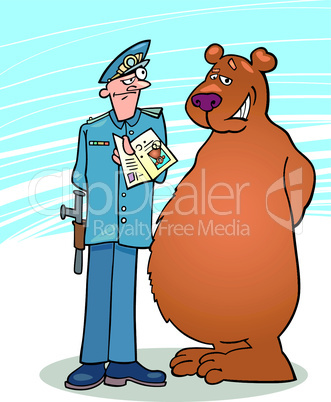 bear and policeman cartoon