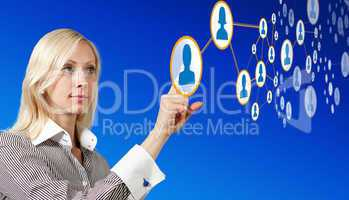 Businesswoman works with futuristic network