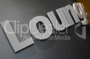 Schriftzug zum Loungebereich