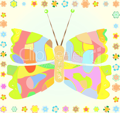 colored Butterfly with flower border on Background