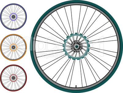 Bike  set  wheel isolated on white background
