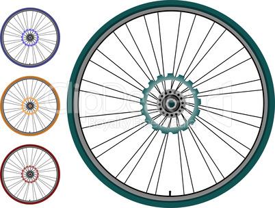 Bike  set  wheel isolated on white background
