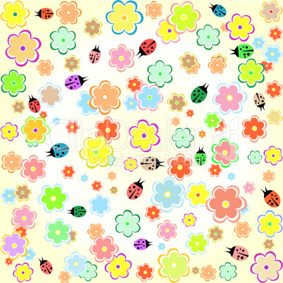 Flowers and ladybugs yellow seamless background wallpaper