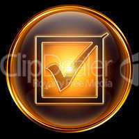 Check icon golden.