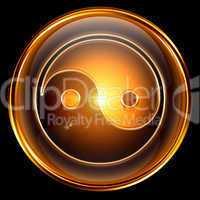 yin yang symbol icon golden, isolated on black background.