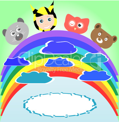 cute kid and smile animals viewing rainbow