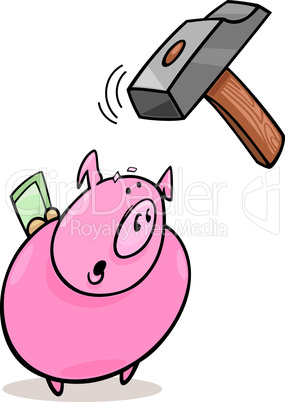 frightened piggy bank and hammer