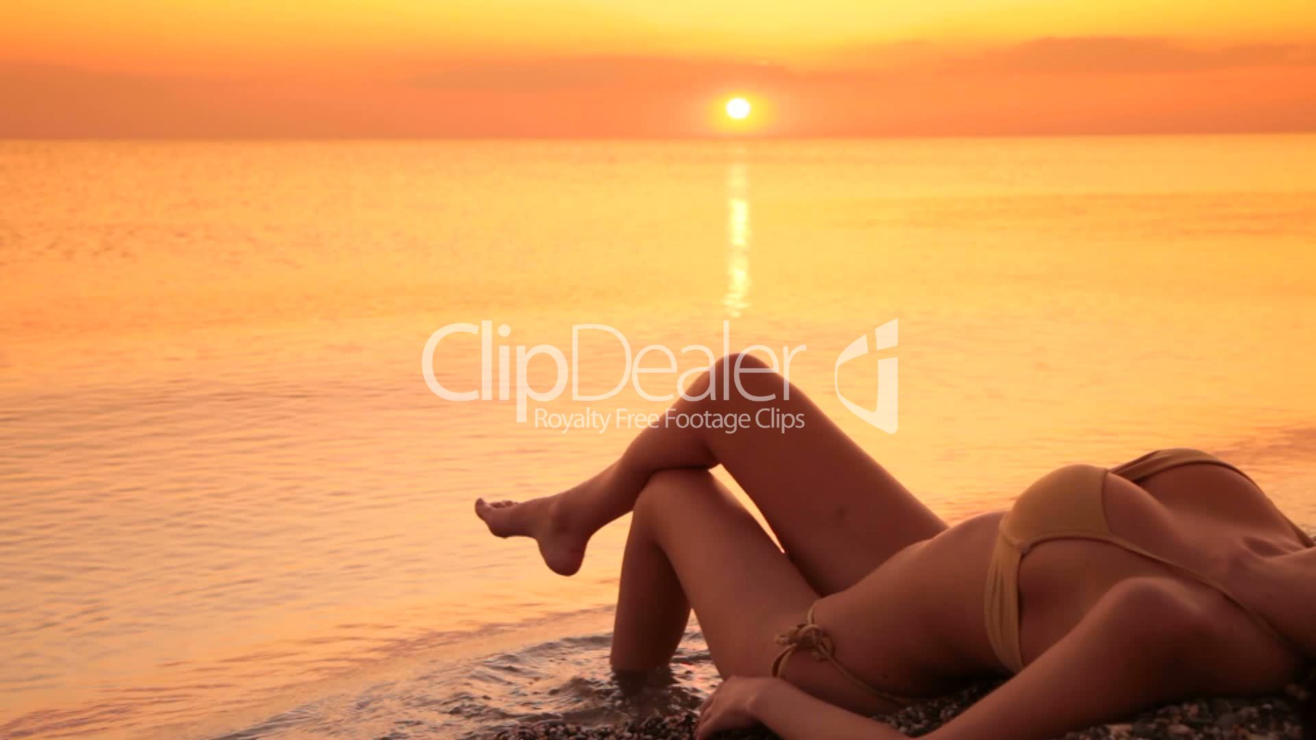 Beautiful Woman In Bikini On The Beach At Sunset Royalty-Free Video And Stock Footage-4218