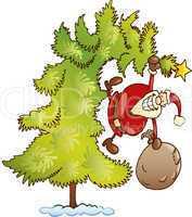 Santa with sack on christmas tree