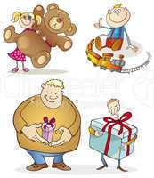 People and christmas gifts