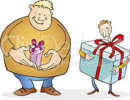 Big man with small gift and thin guy with huge one