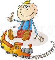 Boy with train set