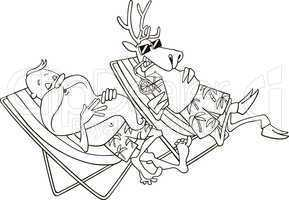 santa and reindeer having a rest for coloring