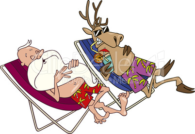 santa and reindeer having a rest
