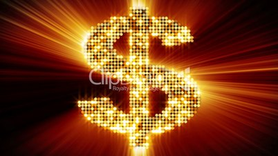 shining dollar sign of particles loopable
