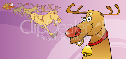 Red nose reindeer christmas card
