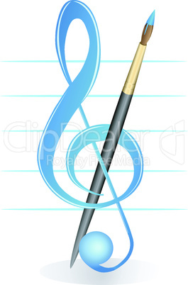 Brush and treble clef