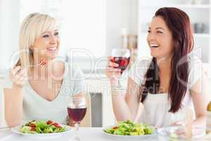 Young women drinking wine