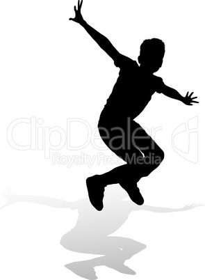 silhouette boy of jump