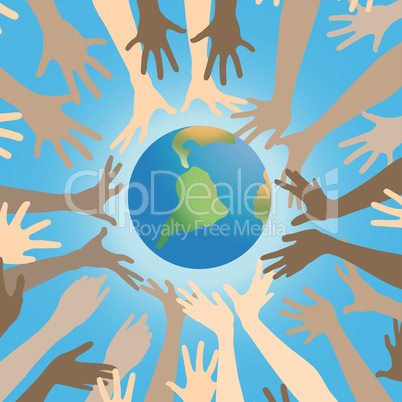 Happy hands vector and planet earth