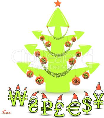 Stock Market Christmas Tree Concept
