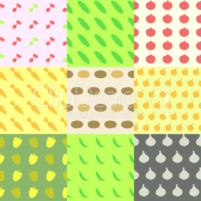 Vegetables Seamless Pattern Background Set.eps