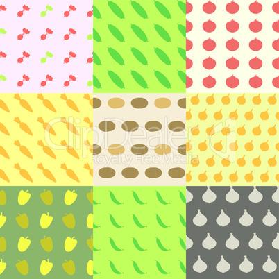 Vegetables Seamless Pattern Background Set.eps