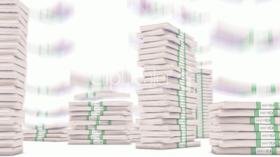500 Euro bundles stacks falling down. Wealth and money