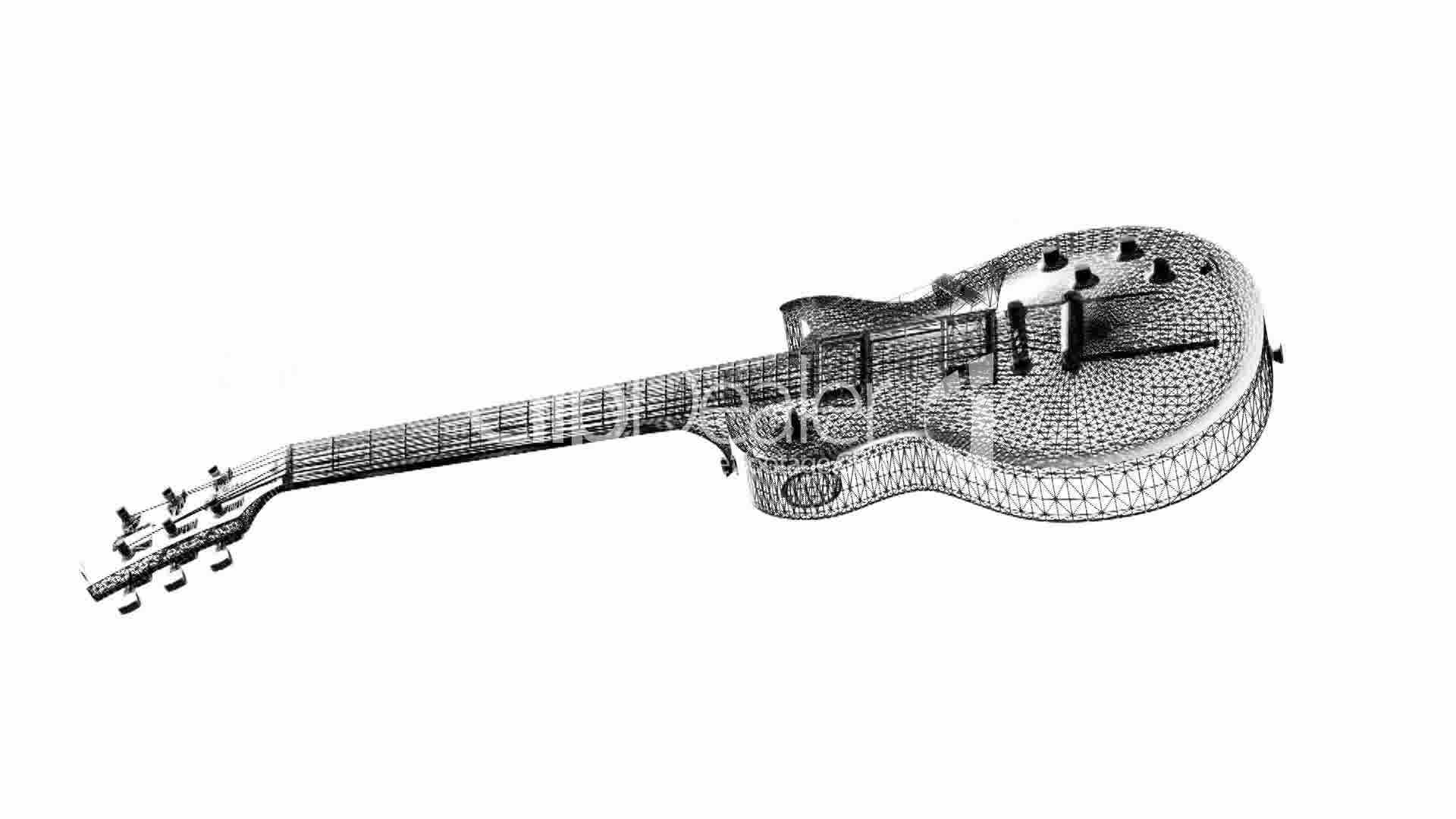 Rotation of 3D Electric Guitar.music,musical,instrument