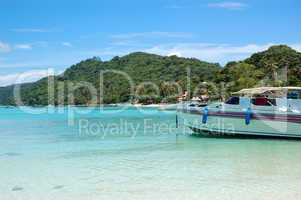 Motor boats on turquoise water of Indian Ocean, Phi Phi island,