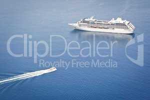 cruiser in the blue sea