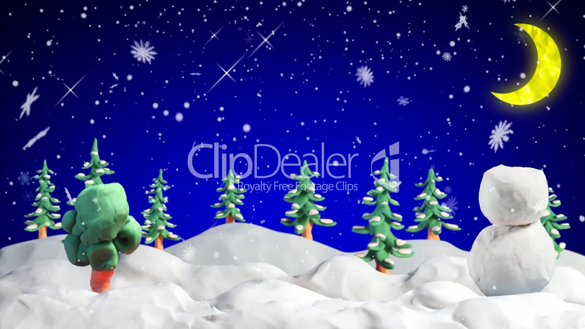 Merry Christmas Clay Greetings Loopable Scene Royalty Free Video