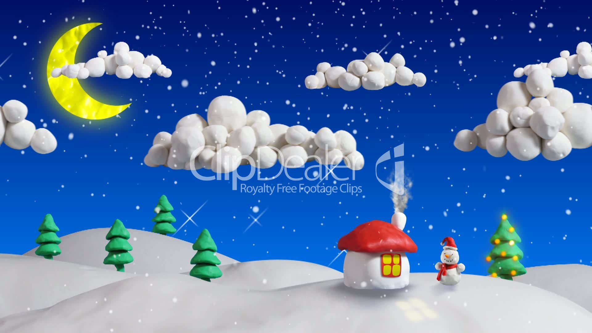 winter christmas scene house and firs loop clay animation ...