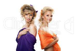 Two pretty young woman with hair style