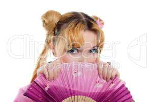 Beauty girl in kimono cosplay hide by fantail